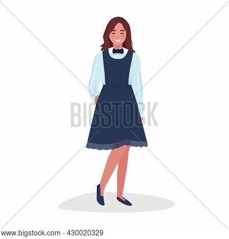 A Cute Schoolgirl In A Fashionable Blue Uniform. Back To School. Vector Illustration.