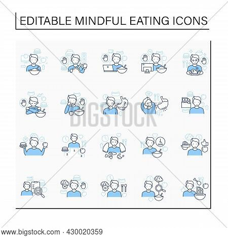Mindful Eating Line Icons Set. Conscious, Intuitive Nutrition. Eating Habits. Hunger Signals. Mealti