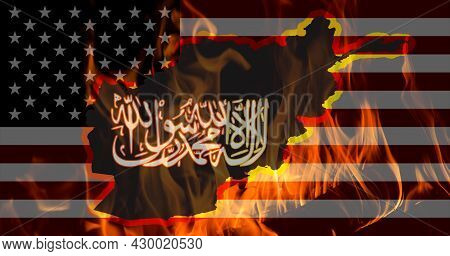 An Outline Map Of Afghanistan And Taliban Insignia On Fire Against The Background Of The Flag Of The