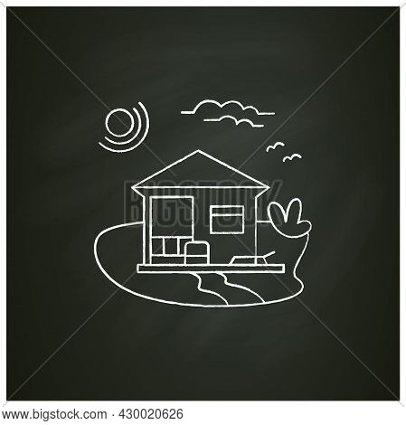 Beach Hut Chalk Icon. Modern Facade Comfortable House On Beach. Perfect Relax Place. Seascape. Rest