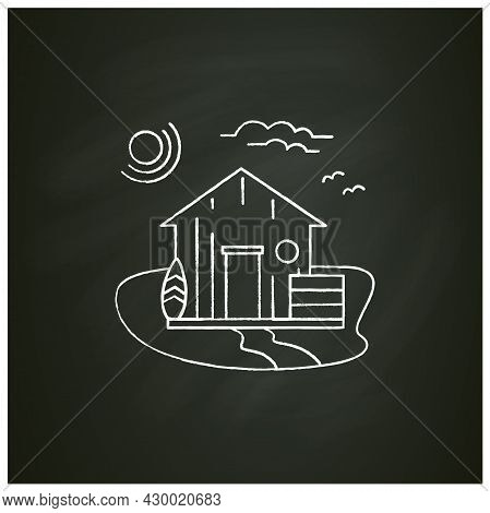 Beach Hut Chalk Icon. Wooden Comfortable House On Beach. Surfboards. Seascape. Rest Concept. Isolate
