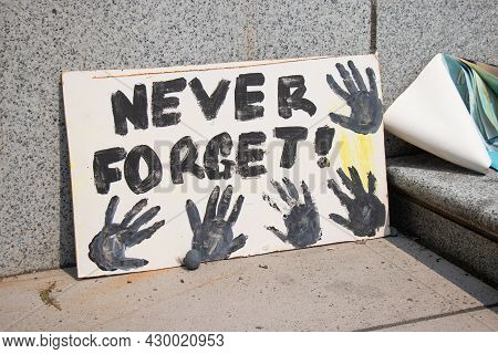 Vancouver, Canada - August 14,2021: Memorial For Indigenous Children Which Remains Have Been Found N