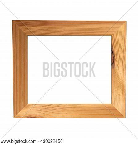 Wooden Frame. Vintage Simple Decorative Wood Border Isolated On White Background. Elegant Yellow Art