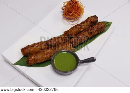 Lamb Seekh Kebab (mince Mutton Meat Skewer) Served With Mint Chutney, Indian Street Food