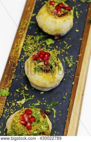 Dahi Batata Puri Made With Yoghurt And Potato, Indian Street Chat Food
