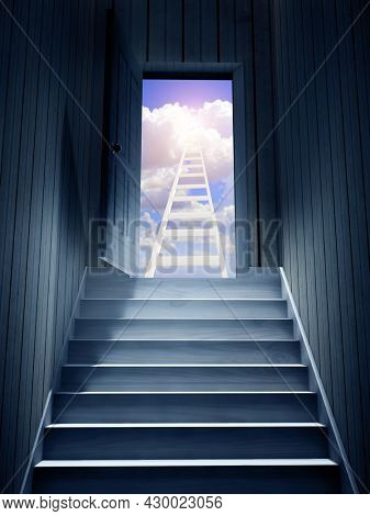 Hope and spirituality concept. Steps leading from a dark basement to open the door. Blue sky with clouds and ladder to sky visible through an open door. 3d render