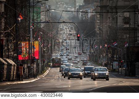Belgrade, Serbia - Fevruary 14, 2021: Traffic Jam Of Cars And Other Vehicles On Kneza Milosa Street