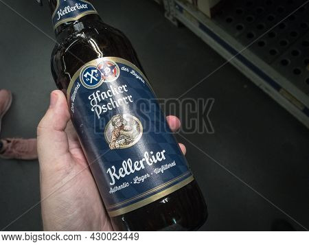 Belgrade, Serbia - April 22, 2021: Hacker Pschorr Beer Logo On A Lager Beer Bottle Of Their Producti