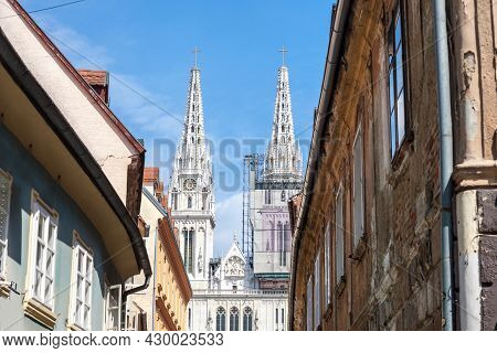 Zagrebacka Katedrala, Also Known As Zagreb Cathedral, Seen In The Afternoon From Kaptol District. Th