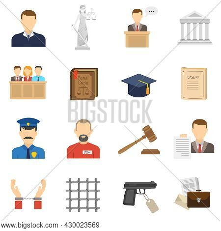 Criminal Case Proceeding Flat Icons Set With Lady Justice And Giving Evidence Witness Abstract Isola