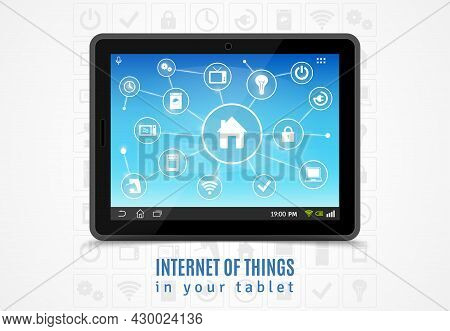 Internet Of Things Concept With Realistic Mobile Tablet And Smart Home Devices Symbols Vector Illust