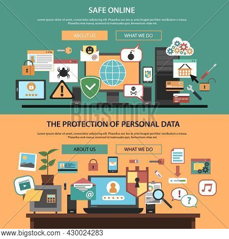 Safe Online Consulting Internet Technology Company Home Webpage Layout Horizontal Banners Set Flat I