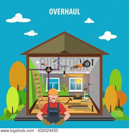 Overhaul House Repair Concept With Flat Woodwork Icons  Set Vector Illustration