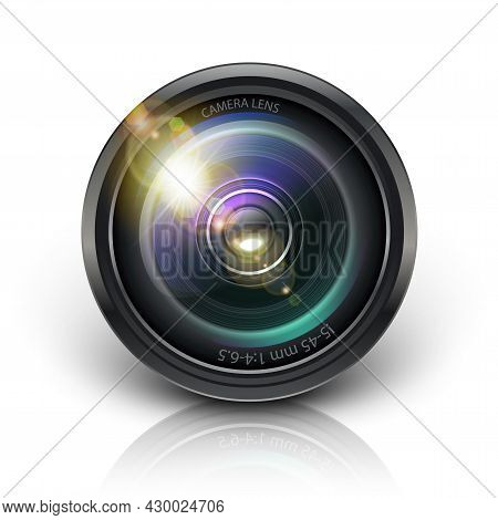 3d Realistic Vector Camera Lens Icon. Isolated On White Background.