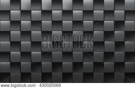 Big Black Abstract Vector Realistic Cubic Background.