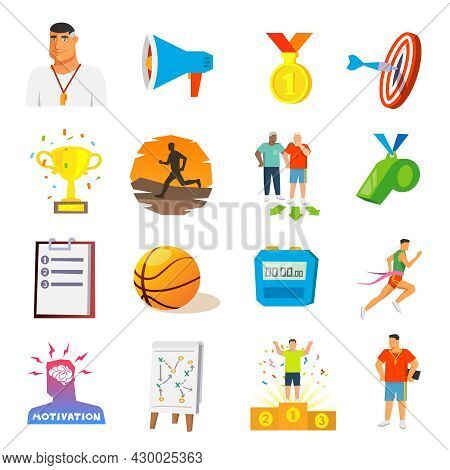Coaching And Sport Competition Flat Icons Set Isolated Vector Illustration