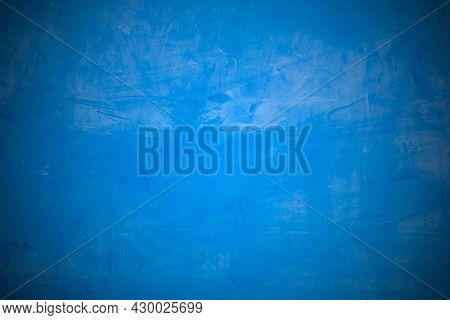 The Concrete Is Painted In Blue, The Blue Grunge Cement Or Painted Concrete Wall Surface. Abstract C