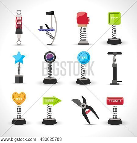 Metal Spring Devices Set With Shock Absorber And Bounce Spiral Isolated Vector Illustration