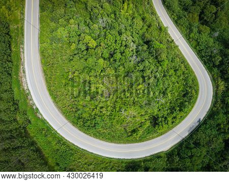 Aerial View Forest Nature With Car On The Road On The Mountain Green Tree, Top View Road Curve From