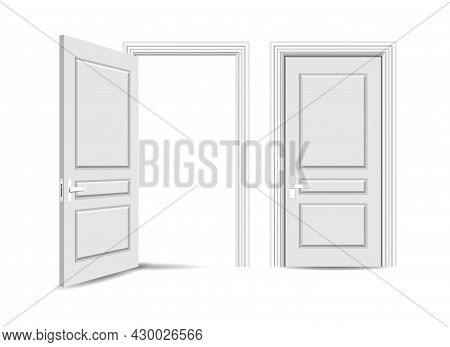 Open Closed Entrance Door. Handling Apartment Room Doors, Opening Close White Realistic Doorway Fron
