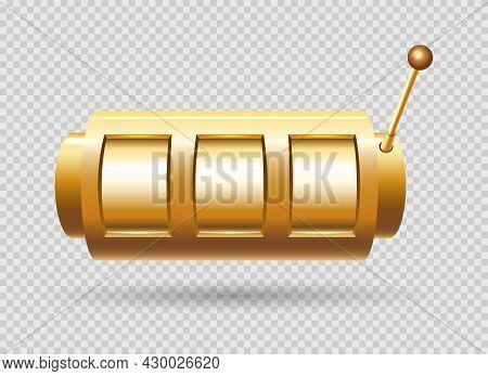 Gold Slot Machine. Golden Jackpot Slotmachine For Lucky Leisure, Gambling Chance Bar Template, Winne