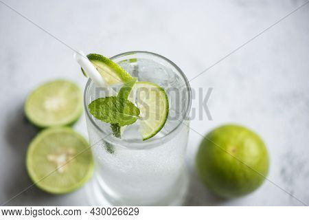 Summer Drink Juicy Lime Slice Top View, Exotic Summer Drinks Refreshing Of Cold Drinks Glasses Fresh