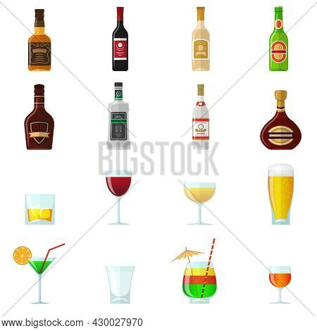 Alcohol Flat Icons Set With Whiskey Brandy Bottles And Cocktail Glasses Isolated Vector Illustration