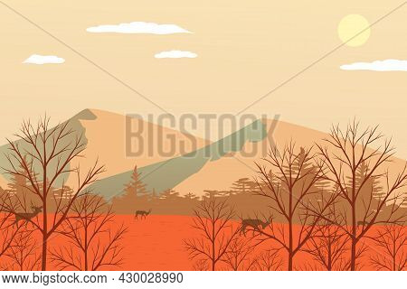 Vector Autumn Landscape With A Mountain Landscape Of Trees And Animal Deer Forest, A Peaceful Natura