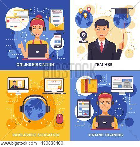 Online Education Training Design Concept Four Square Icon Set With Descriptions Of Online Education