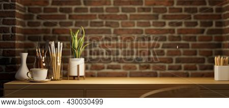 Closeup, Copy Space In Home Workspace, Wood Table, Painting Tools, Indoor Plants, Coffee Cup, Cerami