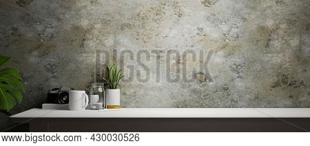 Working Space With Grunge Concrete Loft Wall, Copy Space On Table For Product Display