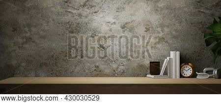Wooden Table With Large Copy Space For Your Brands With Rusty Grey Cement Wall