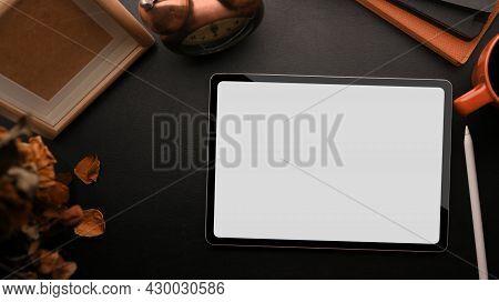 Tablet White Screen Mockup, Blank Wood Frame Template Mockup On Black Background