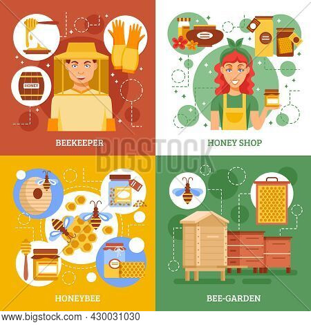 Four Beekeeping Design Icon Set With Descriptions Of Beekeepers Work Honey Shop Honey Bee And Bee-ga