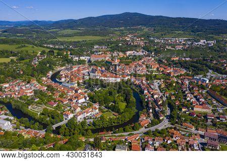 View of beautiful town Cesky Krumlov from Crucifix Hill (Krizova hora)