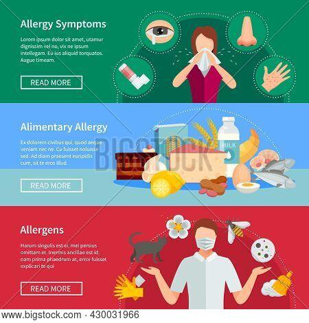 Allergy Flat Concept. Allergy Horizontal Banners. Allergy Vector Illustration. Allergy Isolated Set.