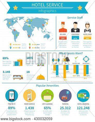 Hotel Service Infographic Set. Hotel Service Flat Infographics. Hotel Service Vector Illustration. H
