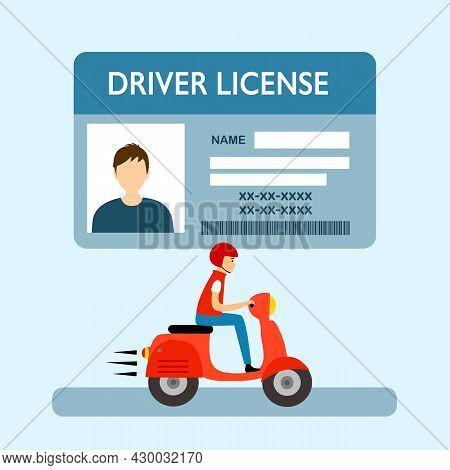 A Man Riding Motorbike. Driver License Concept Vector Illustration. Renew Driving License Idea In Fl