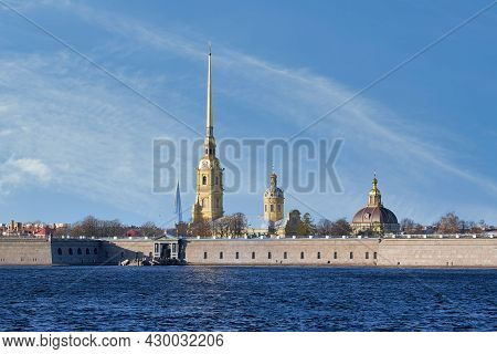Russia, St. Petersburg, View Of The Peter And Paul Fortress On The Neva