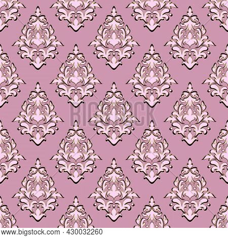 Luxurious Seamless Damask Print. Curly Elements In Pink And Purple Tones, Dark And Gradient Shiny Co