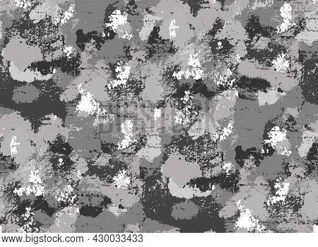 Seamless Monochrome Grunge Natural Pattern. Texture Of The Stone With Gray Moss And Shingles. Vector