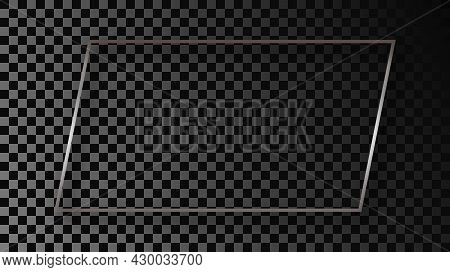 Silver Glowing Rectangular Shape Frame With Shadow Isolated On Dark Transparent Background. Shiny Fr
