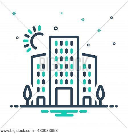 Mix Icon For Urban  Oppidan Citizen Townsman Denizen Metropolitan Central Building Hotel
