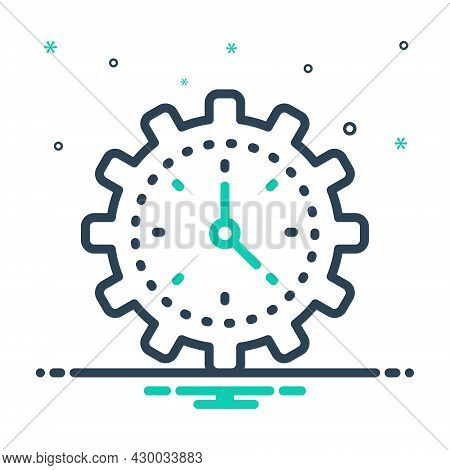 Mix Icon For Efficiency Time Management Concept Speed Gauge Ability Skill Capacity Competence