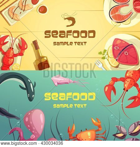 Horizontal Color Banners With Title Depicting Seafood Lobster Crab Octopus Sushi Salmon Tuna Vector
