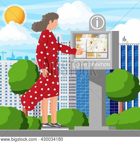 Information Kiosk And Woman And Cityscape. Sign Digital Information Panel. Street Interactive Touchs