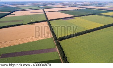 Aerial View Of Fields With Various Types Of Agriculture.