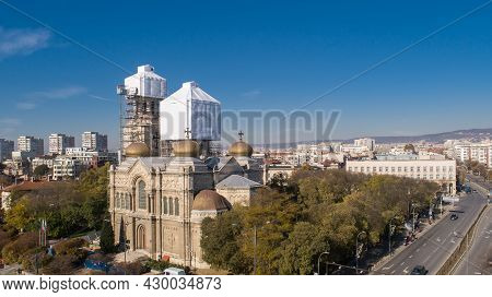 Restoration Process Of Church, Cathedral, Maintenance And Gold Plating Of Its Domes. The Cathedral O