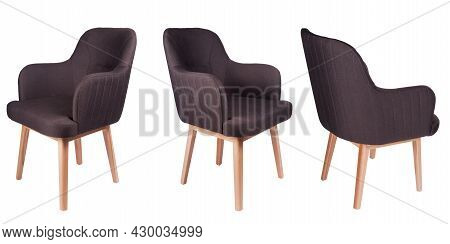 Set Of Fabric Chairs Isolated On White. Chairs From Three Sides View