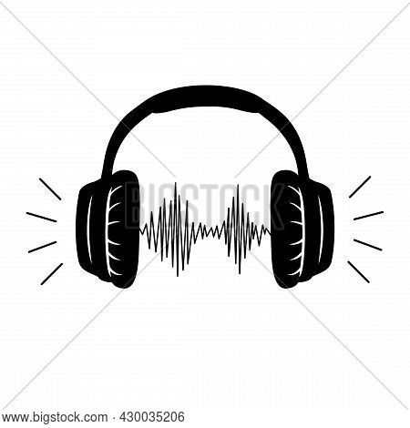 Headphones, Headset With Music Playing Loud Monochrome Sketch Outline Vector Line Art. Device, Stere